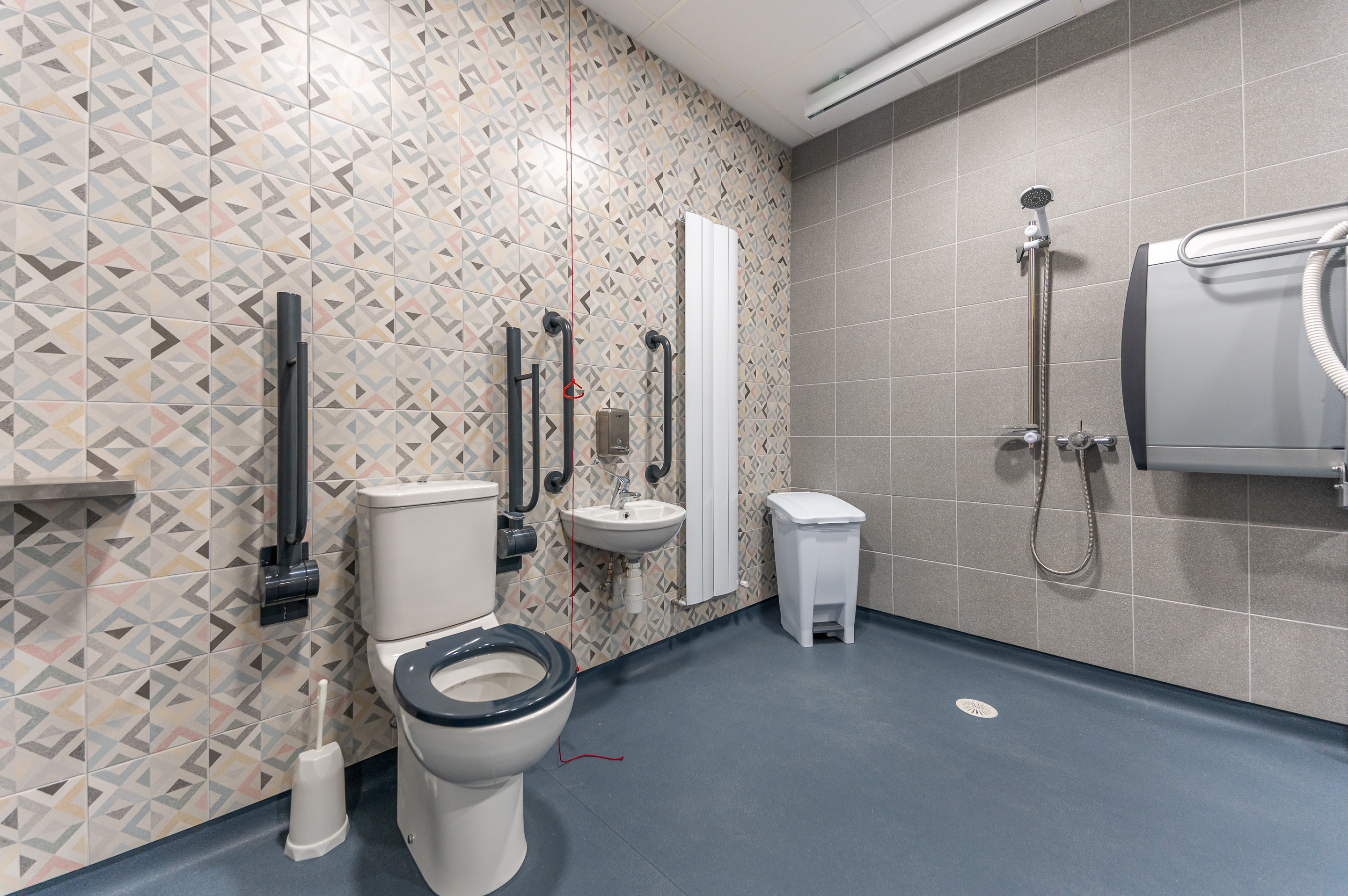 Picture of peninsular toilet, and sink in changing places toilet facility